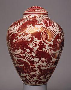 William De Morgan: Vase with cover ,British,1888-98