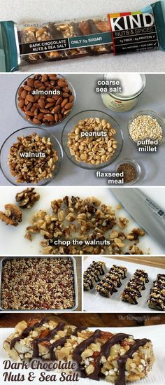 Homemade KIND bars - recipes for 6 of the most popular flavors. Save some cash, plus, I can use all organic ingredients and feel good about giving these to the girls. - Just made these. Really good, but will try less sweetener next time.