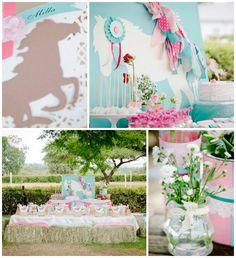 Pink and Teal Pony themed birthday party with So Many Cute Ideas via Kara's Party Ideas KarasPartyIdeas.com #ponyparty #ponypartyideas #part...