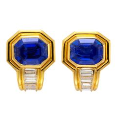 Bulgari sapphire and diamond earrings | From a unique collection of vintage clip-on earrings at http://www.1stdibs.com/jewelry/earrings/clip-on-earrings/