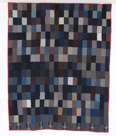 Old Order Amish Wool Bricks   Quilted in Log Cabin Barn Raising Pattern  c. 1895  Big Valley, Mifflin County, Pa