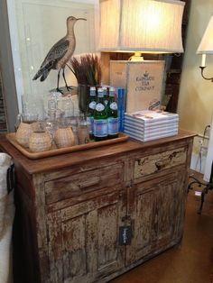 MASTER SITTING/MATT's OFFICE: bar cabinet hiding mini fridge for matt's late night powerade zeros