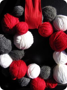 Red, Grey, White yard ball wreath