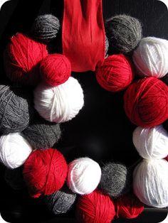 Red, Grey, White yard ball wreath