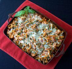 Chicken Parmesan Spinach Pasta Bake