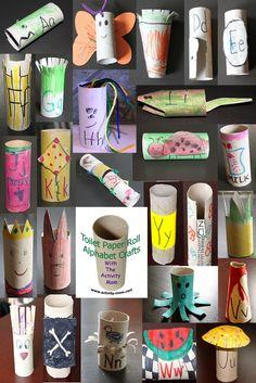 Toilet Paper Tube Alphabet Crafts A-Z