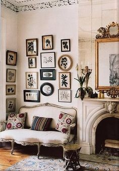 Time for a little mid-party reading break in a nook like this! mirror, interior, frame, galleri, botanical prints, fireplaces, gallery walls, hous, art walls