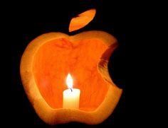 Apple pumpkin carving design