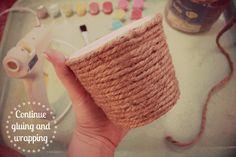 DIY FLOWER POTS :: Sisel Rope-Wrapped Planter Tutorial | #eatsleepmake