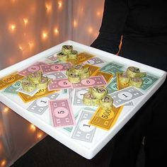 Monopoly money serving tray