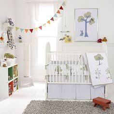 Night Owl Baby Bedding from PoshTots - Baby Boy Room  This has owls AND bunnies!
