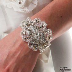Rhinestone applique, crystal applique, wedding applique,  beaded patch for DIY wedding accessories. Nr 1. $13.99, via Etsy.