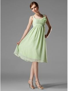 Bridesmaid Dresses - $103.99 - Empire Scoop Neck Knee-Length Chiffon Bridesmaid Dress With Ruffle Flower(s) Bow(s)  http://www.dressfirst.com/Empire-Scoop-Neck-Knee-Length-Chiffon-Bridesmaid-Dress-With-Ruffle-Flower-S-Bow-S-007004129-g4129