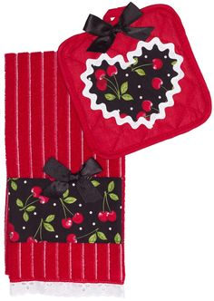 PAPERDOLL TOWEL SET CHERRY RED Paperdoll will turn your blah kitchen into the retro one you've always wanted! This set includes a cherry red pot holder with stitched cherry heart in the center along with matching kitchen towel with cherry & lace details. $24.00 #paperdoll #kitchen #towels #potholder #set #retro #vintage #cherries