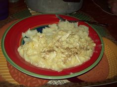 Crock Pot Chick-N-Noodles: 3-4 skinless boneless chicken breast, 42 oz carton of chicken broth (you could cut it down to 3-14 oz cans if you wanted it less liquidy), 2 cans cream of chicken soup, a few tbsp of butter &1 -16oz bag egg noodles. Put chicken breasts on the bottom of crock, top with soup and broth and dot with butter....cook on low 6-8 hrs. Shred chicken and stir mixture. Add noodles to the crock and cook for another 45 min- 1hr....Serve over Mashed potatoes and season with pepper.