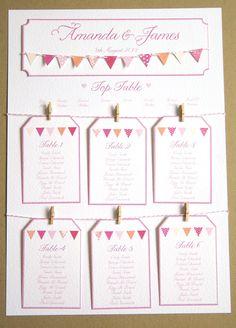 Pink Bunting Wedding Table Plan