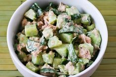 Garden Cucumber Salad with tuna and sweet basil