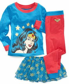 DC Comics Kids Pajamas, Toddler Girls Wonder Woman 3-Piece Shirt, Pants and Tutu Set.....can I get these in adult?????