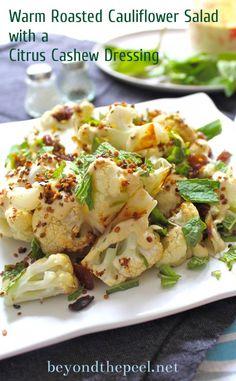 Roasted Cauliflower Salad with Citrus Cashew Dressing via beyondthepeel.net