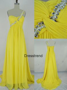 Long One shoulder Yellow  Prom Dress  Yellow Prom