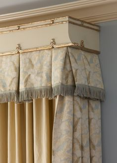 It's all in the details! Custom headboards and valences with gold bamboo detailing bring this room to the next level. By Cindy Rinfret of Rinfret, Ltd.