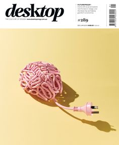 """I think this photo is a very interesting and creative way to embody the concept of the average person being too """"plugged in"""" to technology. (Desktop magazine December/January 2013 cover designed by Sonia Rentsch, with photography by Scott Newett and retouching by Hadyn Cattach.)"""