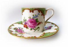 Vintage Cup Saucer Aynsley Demitasse Green