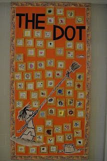 """Kindergarten Dots. I read the book""""The Dot"""" and we talked about how art can startwith a simple dot. Each child then gets to make a dot of theirown. When they are finished we glue it to a gold colored paper and use gold marker to make swirls. They frame it in """"swirly gold"""" just like the art teacher in the story does."""