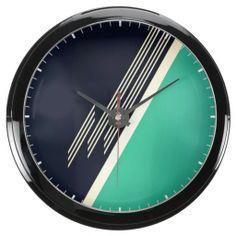 Retro Abstract Aquavista Clock
