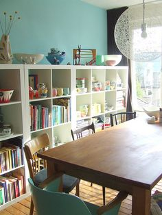 wall colors, dining rooms, living rooms, dine room, dining spaces, shelv, school rooms, craft room design, craft rooms