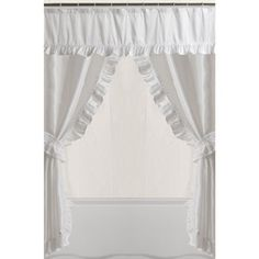 Mainstays Double Swag Shower Curtain, White