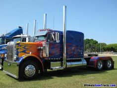 car, big truck, trucksbig rig, semi truck, optimus prime, flame