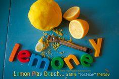 """Lemoney"" Lemon Play Dough...A Little ""Post Nap"" Therapy via www.mysmallpotatoes.com"