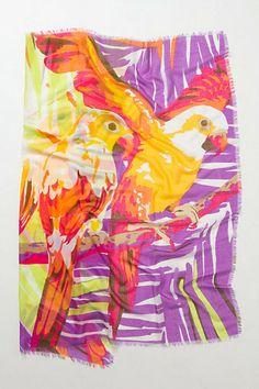 anthropologi, parrots, accessori, arina, scarf, birds, silk scarves, bright colors