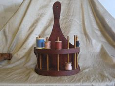 Wooden Sewing Spool Spindle Holder Handmade Shelf from Georgia