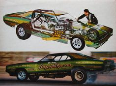 Great cutaway of 68 Dodge Charger Imperial Kustoms Funny Car AA/FC