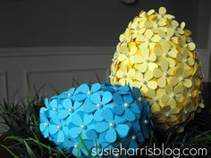 Easy & inexpensive tutorial on how to make paper-flower covered eggs.