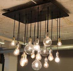 Love this idea. Reclaimed wood. Edison bulbs. #urbanchandy