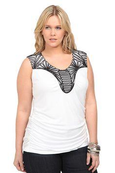 Plus size black & white top. Super cute. tank top, style, cloth, plus size, black white, black trim, size white, trim tank, tanks