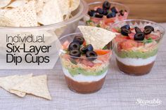 Individual Six-Layer Dip Cups #stepable #recipes