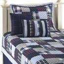 blue plaid quilt set