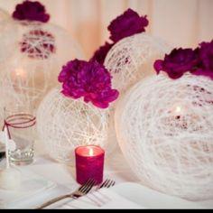 wedding tables, yarn bowl, centerpiec, wedding ideas, wedding crafts, cooking spray, balloon, flower, diy wedding