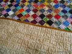 Simple CC or orange peel quilting, detail front and back