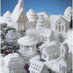 Snow Village - created with plastic canvas