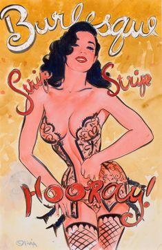 Pin-up and Glamour Art, OLIVIA DE BERARDINIS (American, b. 1948). Dita Von Teese,Burlesque: Strip, Strip, Hooray, poster study. Watercolor onb... (Total: 1 Items) Image #1
