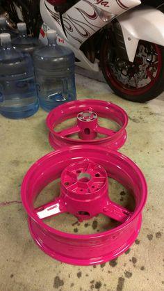 Pink rims, pink motorcycle