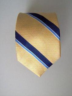 Lands' End MENS SILK NECK TIE Necktie yellow navy blue woven stripes 100% Silk