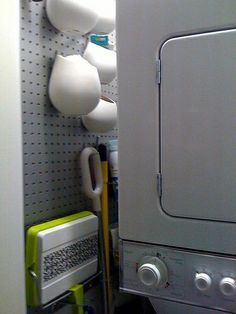 Pegboard in laundry closet