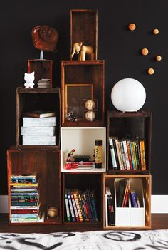 Great storage idea: mismatched cubes and crates.