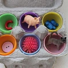Make a learning game from plastic Easter eggs and egg cartons
